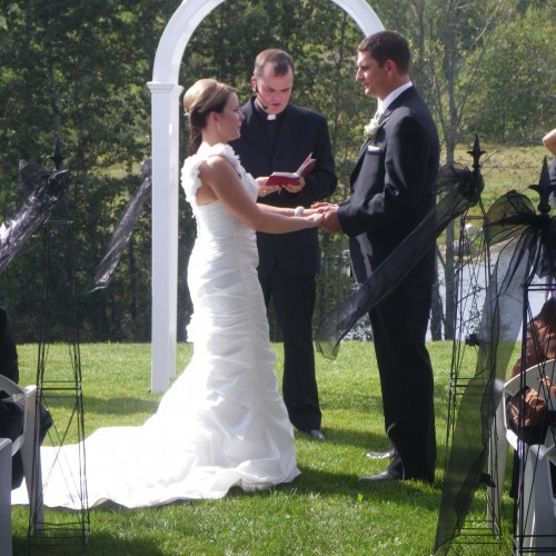 Outdoor wedding ceremony in Pembroke