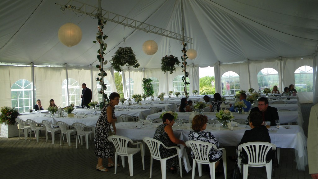 Reception tent set up